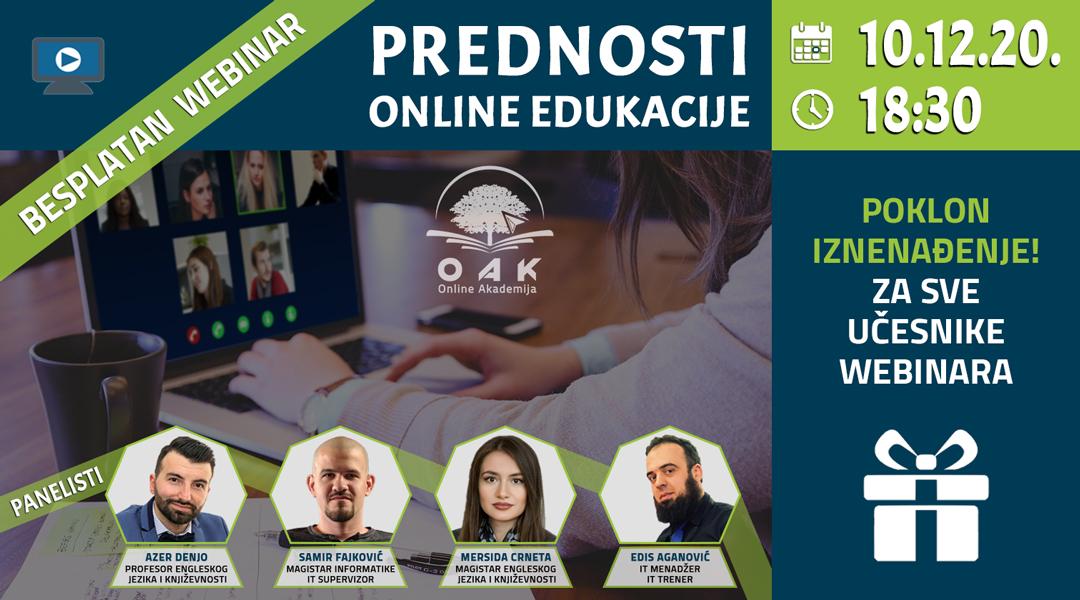Webinar Prednost online edukacije OAK Online Akademija
